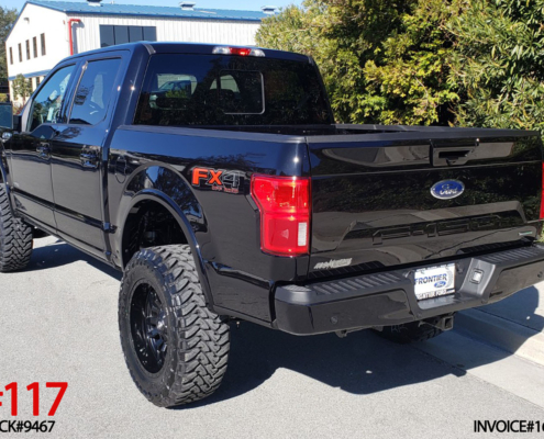 2019 FORD F150 CREW CAB #9467 6″ Off Road Leveling System w/ Shocks, MHT Sledge 20x10 Rims, 35″ Toyo Open Country M/T, AMP Electric Side Step Boards w/ LED.